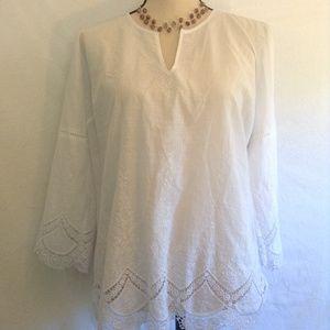 NYDJ white lace long sleeve (3/4) tunic